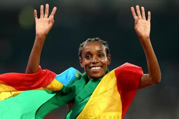 Almaz Ayana after winning the 5000m at the IAAF World Championships, Beijing 2015 (Getty Images)