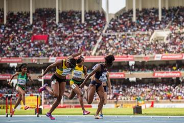 Britany Anderson wins the 100m hurdles at the IAAF World U18 Championships Nairobi 2017 (Getty Images)