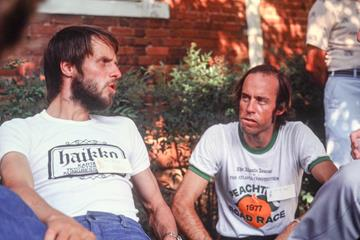 David Martin (r) with Lasse Viren in Atlanta, 1978 (Peter John L Thompson)