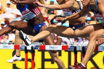 Hyleas Fountain of the US opens up with the fastest 100m Hurdles time in the Heptathlon (Getty Images)