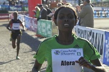 Afera Godfay leads an Ethiopian parade in Villa Lagarina (Organisers)