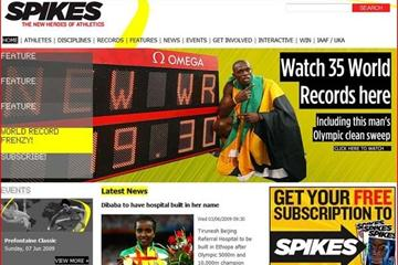 A snap-shot of Spikes website home page (IAAF.org)