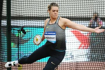 Sandra Perkovic at the 2016 IAAF Diamond League meeting in Shanghai (Errol Anderson)