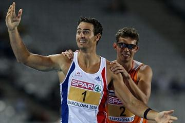 European gold and silver medallists in the decathlon, Romain Barras and Eelco Sintnicolaas (Getty Images)
