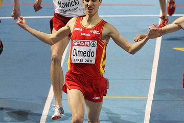 Manuel Olmedo takes the European indoor 1500m title in Paris (Getty  Images)