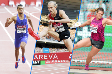 Wayde van Niekerk, Evan Jager and Sandra Perkovic in action at the IAAF Diamond League meeting in Paris ()