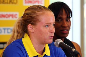 Sweden's Sofi Flink at the press conference ahead of the IAAF World Junior Championships, Oregon 2014 (Getty Images)