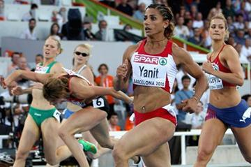 Nevin Yanit of Turkey wins the European 100m Hurdles titles in 2010 (Getty Images)