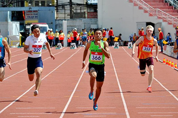 Khairul Hafiz Jantan in the 100m at the Asian Junior Championships (Organisers)
