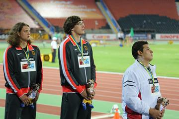 Patrick Muller and Henning Prufer on the podium at the World Youth Championships (Rachel Rominger)