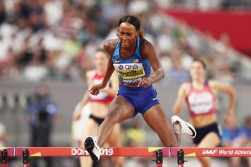 Dalilah Muhammad in the 400m hurdles at the IAAF World Athletics Championships Doha 2019 (Getty Images)