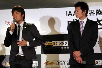 OSAKA 2007- Opening Event: left to right - Singo Suetsugu (Men 200m) & Daichi Sawano (Pole Vault) (loc)