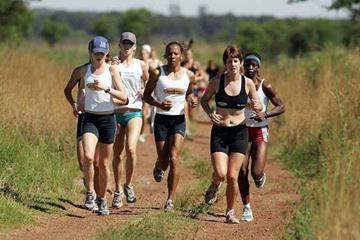Kelly Holmes on a run with the camp participants (Getty Images)