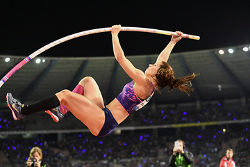 Ekaterini Stefanidi, winner of the pole vault at the IAAF Diamond League final in Brussels (Gladys Chai von der Laage)
