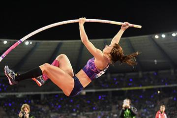 Ekaterini Stefanidi, winner of the pole vault at the IAAF Diamond League final in Brussels (Gladys Chai von der Laage)