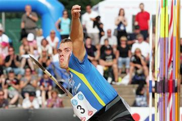 Ari Mannio launches a season best 85.10m at the Finnish Championships (Paula Noronen)