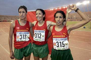 Francophone Games - Moroccan 10,000m medal sweep: Zhor el Kamch (C) (gold), Malika Asahasah (L) (silver) and Ayachi Fatima (R) in Niger (AFP/Getty Images)