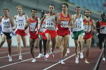 Rashid Ramzi of Bahrain leads the field home in first place as he competes during his Men's 1500m Semi Final (Getty Images)