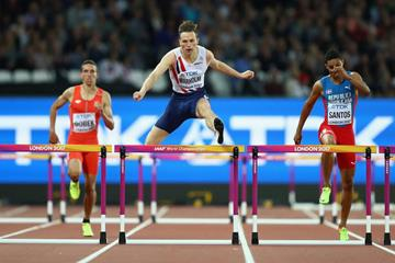 Karsten Warholm clears a hurdle in the 400m hurdles at the IAAF World Championships (Getty Images)