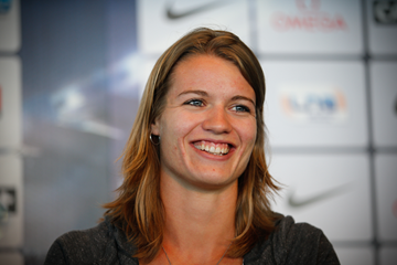 Dafne Schippers at the press conference for the IAAF Diamond League meeting in Monaco (Philippe Fitte)