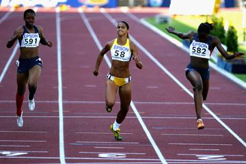 Barbara Leoncio of Brazil wins the 200m final (Getty Images)