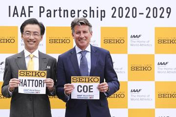 Sieko CEO Shinji Hattori and IAAF President Sebastian Coe in Yokohama (Roger Sedres)