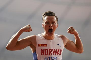 Karsten Warholm after successfully defending his 400m hurdles title at the IAAF World Athletics Championships Doha 2019 (Getty Images)