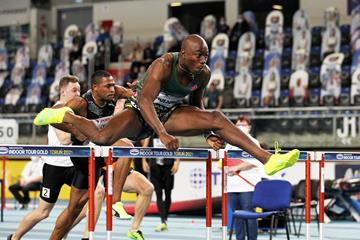 Grant Holloway wins the 60m hurdles at the World Athletics Indoor Tour Gold meeting in Torun (Jean-Pierre Durand)