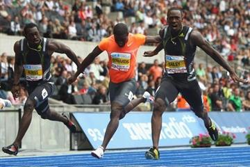 Daniel Bailey of Antigua cruises into 1st during 100m at the Berlin Golden League (Getty Images)