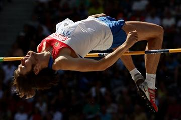 Joint World Leader Ivan Ukhov of Russia clears the bar to reach the automatic qualifying mark in the men's High Jump at the 12th IAAF World Championships in Athletics (Getty Images)