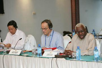 l to r: Dapeng Lou (CHN), Arne Ljungqvist (SWE), Lamine Diack (SEN) - IAAF Council meeting, Mombasa, Day 1 (Getty Images)