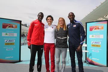 Geoffrey Kamworor, Marta Esteban, Florencia Borelli and Bernard Lagat at the IAAF/LOC Press Conference in Valencia (Jean-Pierre Durand)