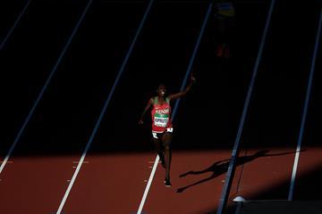 Rhonex Kipruto celebrates at the World U20 Championships (Getty Images)