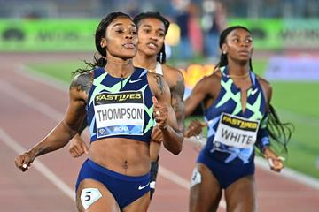 Elaine Thompson wins the 100m at the Wanda Diamond League meeting in Rome (AFP / Getty Images)