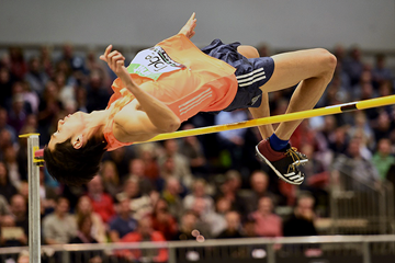 High jump winner Naoto Tobe at the IAAF World Indoor Tour meeting in Karlsruhe (Jiro Mochizuki)