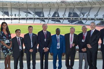 The IAAF Evaluation Commission at London's Olympic Stadium. From left: Isabelle Dupuis, Rowena Samasarinhe, Hiroshi Mochizuki of Dentsu, Paul Hardy, Alberto Juantorena, Hamad Kalkaba, Bob Hersh, Pierre Weiss, Cesar Moreno-Bravo, and Nick Davies (onEdition)