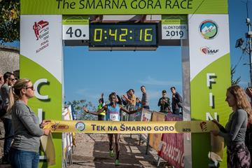 Petro Mamu wins the 2019 Smarna Gora Mountain Race (Marco Gulberti/WMRA)