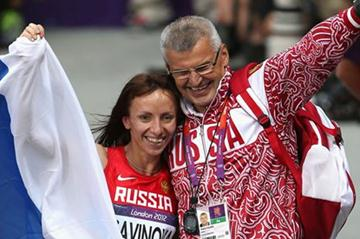Gold medalist Mariya Savinova of Russia celebrates with her coach Vladimir Kazarin after winning gold in the Women's 800m Final  of the London 2012 Olympic Games (Getty Images)