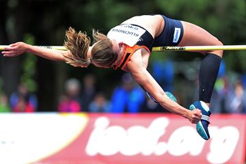 Eliska Klucinova in the heptathlon high jump at the TNT Express Meeting in Kladno (Jan Kucharcik)