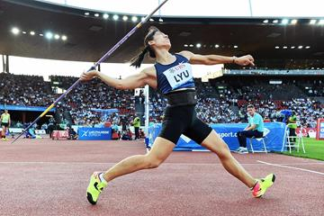 Lyu Huihui, winner of the javelin at the IAAF Diamond League final in Zurich (Jiro Mochizuki)