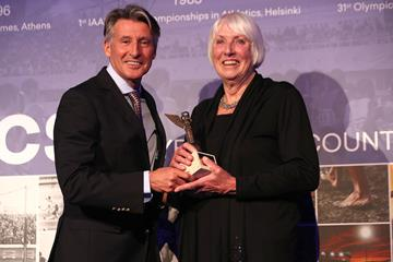 Sebastian Coe with Fanny Blankers, daughter Fanny Blankers-Koen at the IAAF Heritage Legends Reception (Giancarlo Colombo for the IAAF)