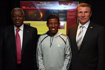 'The World Keeps Running' launch in Manchester, UK - (l to r) Lamine Diack, Haile Gebrselassie and Sergey Bubka (Getty Images)