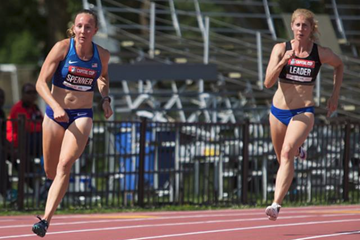 Sami Spenner (left) in the heptathlon 200m in Ottawa (Brian Rouble / organisers)