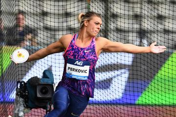 Discus winner Sandra Perkovic at the IAAF Diamond League final in Brussels (Gladys Chai von der Laage)