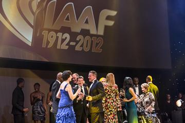 Inaugural IAAF Hall of Fame members and 2012 IAAF award winners on stage at the IAAF Centenary Gala in Barcelona (Philippe Fitte)