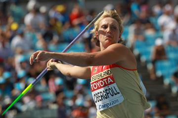 Christina Obergfoll in action at the 2011 World Championships in Daegu (Getty Images)