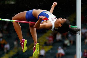 Morgan Lake in action in the high jump (Getty Images)