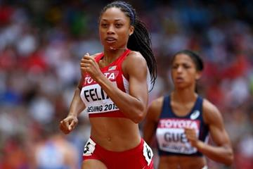 Allyson Felix in the 400m at the IAAF World Championships, Beijing 2015 (Getty Images)