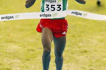Kenenisa Bekele crosses the finish line to win the men's World short course title in Lausanne (Getty Images)