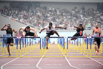 Omar McLeod on his way to winning the 110m hurdles at the IAAF Diamond League meeting in Shanghai (Errol Anderson)